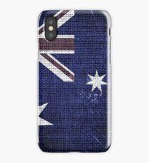 Vintage Australia Flag Burlap Linen Rustic Jute iPhone Case/Skin