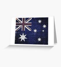 Vintage Australia Flag Burlap Linen Rustic Jute Greeting Card