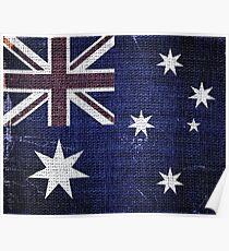 Vintage Australia Flag Burlap Linen Rustic Jute Poster