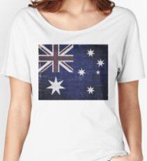 Vintage Australia Flag Burlap Linen Rustic Jute Women's Relaxed Fit T-Shirt