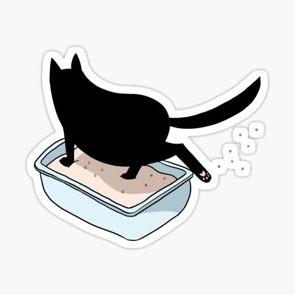 Black Cat in Litter Box Sticker