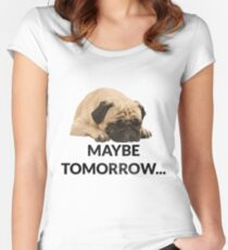 Maybe Tomorrow Sleeping Pug Women's Fitted Scoop T-Shirt