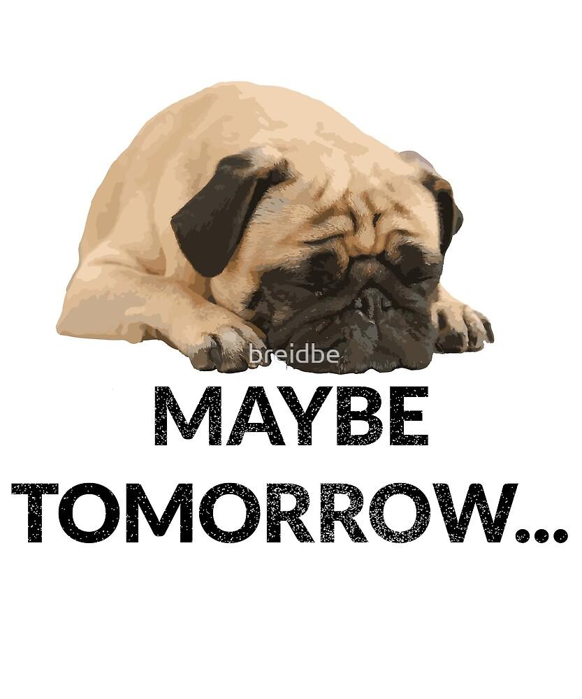 Maybe Tomorrow Sleeping Pug by breidbe