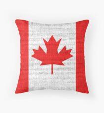 Canada Flag Burlap Linen Rustic Jute Throw Pillow