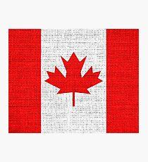 Canada Flag Burlap Linen Rustic Jute Photographic Print