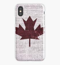 Vintage Canada Flag Burlap Linen Rustic Jute iPhone Case/Skin