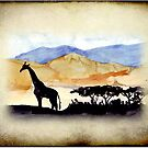 Lodge décor - Silhouettes against an African sky by Maree Clarkson
