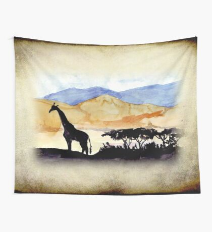 Lodge décor - Silhouettes against an African sky Wall Tapestry