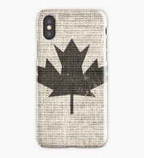 Old Canada Flag Burlap Linen Rustic Jute iPhone Case/Skin
