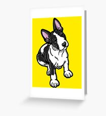 Black And White Bull Terrier Greeting Card