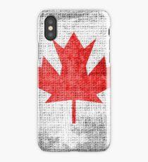 Vintage Canada Flag on Burlap Linen Rustic Jute iPhone Case/Skin