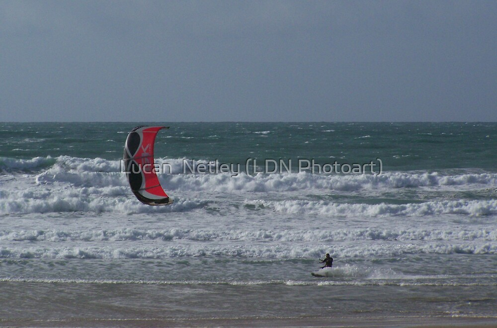 kite-surfing at Watergate Bay by Lucan  Netley (LDN Photoart)