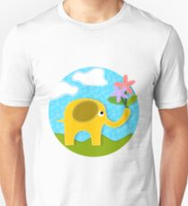 Cute Gold Applique Elephant in Field Holding Flowers in Her Trunk T-Shirt
