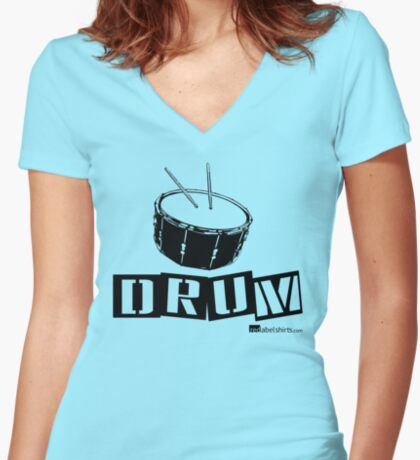 Label Me A Snare Drum (Black Lettering) Women's Fitted V-Neck T-Shirt