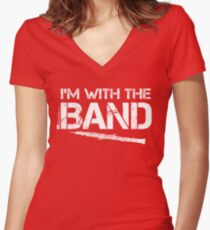 I'm With The Band - Oboe (White Lettering) Women's Fitted V-Neck T-Shirt