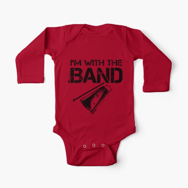 I'm With The Band - Cowbell (Black Lettering) Long Sleeve Baby One-Piece