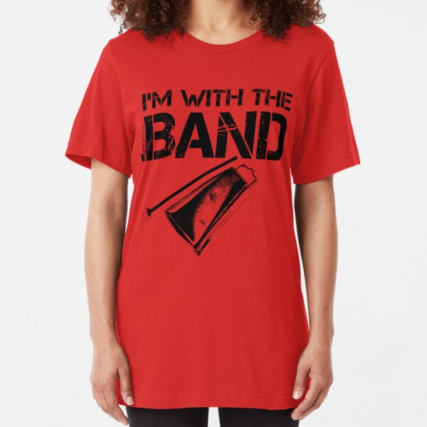 I'm With The Band - Cowbell (Black Lettering) Slim Fit T-Shirt