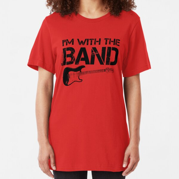 I'm With The Band - Electric Guitar (Black Lettering) Slim Fit T-Shirt