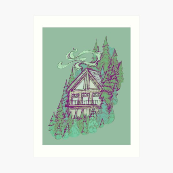 Cabin in the Forest || Nature Illustration by Chrysta Kay Art Print