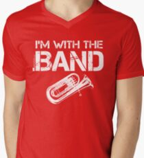 I'm With The Band - Tuba (White Lettering) Men's V-Neck T-Shirt