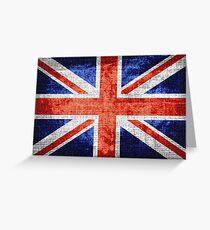 Vintage Britain Flag Burlap Rustic Jute #3 Greeting Card