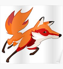 Sly Red Fox Running Poster