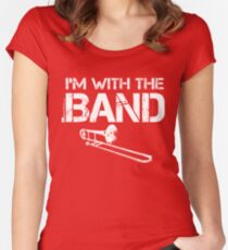 I'm With The Band - Trombone (White Lettering) Women's Fitted Scoop T-Shirt