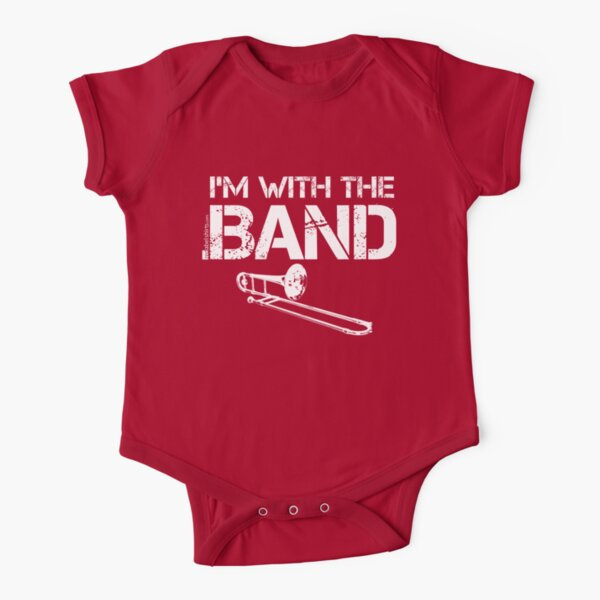 I'm With The Band - Trombone (White Lettering) Short Sleeve Baby One-Piece