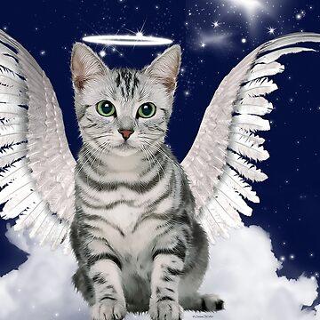 Tabby Cat Angel Blue Starry Sky by SalonOfArt