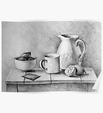 Drawing illustration of still life composition with mug, lemons, cup and water jug on wood table Poster