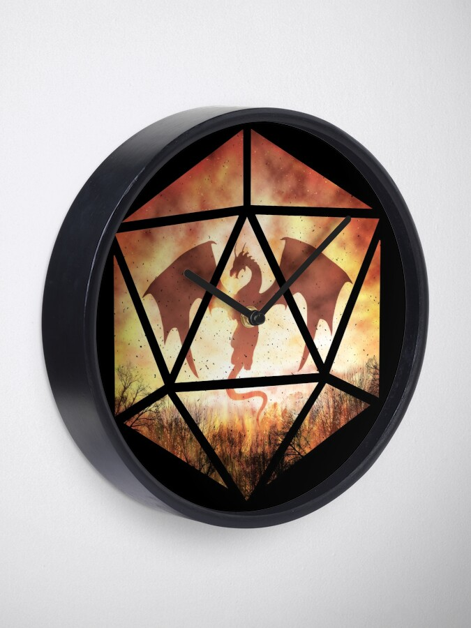 Alternate view of Fire Dragon D20 Clock