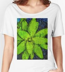 Green Agave and Dark Blue Pebbles Women's Relaxed Fit T-Shirt