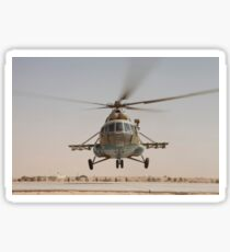 An Afghan Air Force Russian Mil MI-17 helicopter takes off from Camp Shorabak, Afghanistan. Sticker