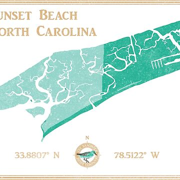 Sunset Beach, NC map by The Sandpiper Shirt Co. by LaunchMission