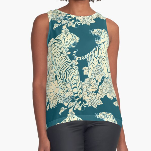 Teal and cream tigers and flowers Sleeveless Top