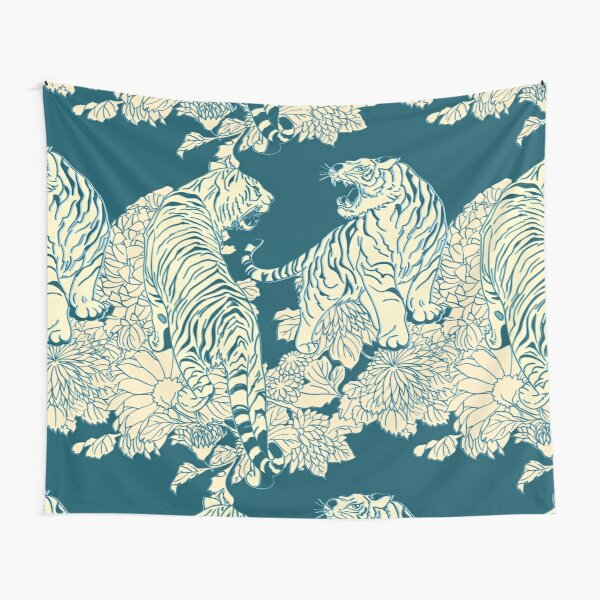 Teal and cream tigers and flowers Tapestry