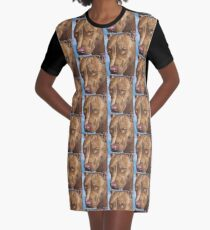 A Beautiful Red Nose Pit Bull Painting Graphic T-Shirt Dress