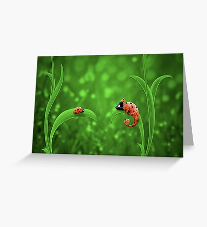 Ladybug and Chameleon Greeting Card