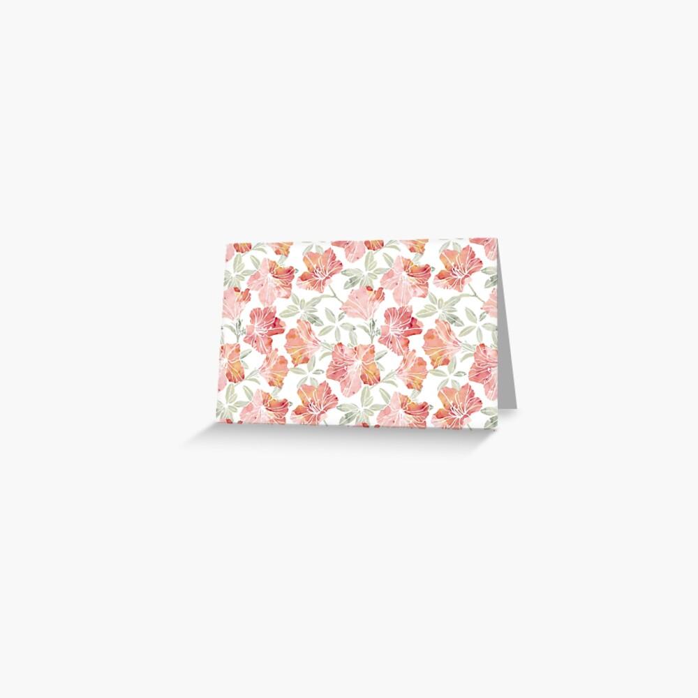 Peach pink azaleas Greeting Card