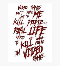 Videogames Violence Photographic Print
