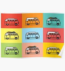 Retro Camper Vans Art Poster
