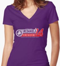 Hiram McDaniels for Mayor '14 Women's Fitted V-Neck T-Shirt