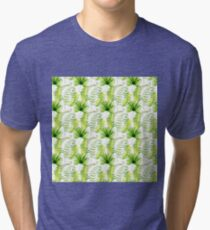 Tropical leaves seamless pattern, exotic monstera jungle print Tri-blend T-Shirt