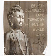 Wood Effect Buddha Statue Mindfulness Quote Poster