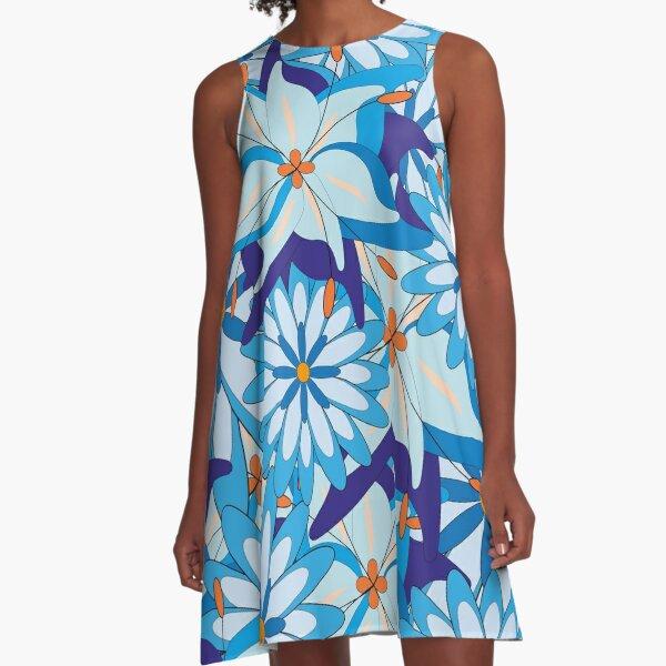 Blue Flower Power A-Linien Kleid