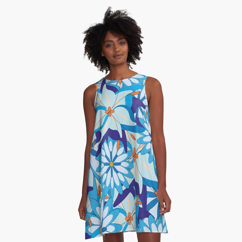 Blue Flower Power A-Linien Kleid