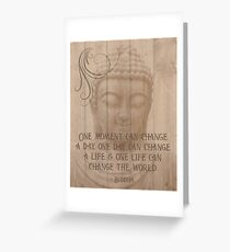 Buddhism Spiritual Life Quote Wood Effect Statue Print Greeting Card