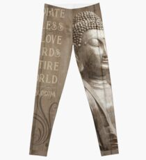 Wood Effect Buddha Statue Mindfulness Quote Leggings