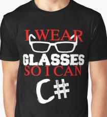 I Wear Glasses So I Can C# Programmer Developer Coder Geek T-shirt Meme joke shirts Graphic T-Shirt