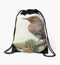 spruce flicker portrait Drawstring Bag